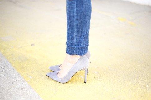 An Dyer wearing ShoeMint Bess Suede Pointy Pump in Grey Suede