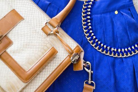 NYFW An Dyer Brahmin Brookeline Satchel, Cobalt Blue Harlyn Label Shorts, ShopLately Necklace