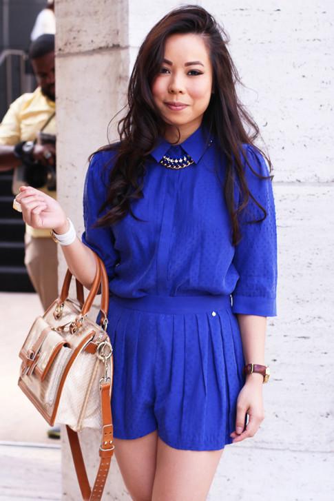 NYFW Spring 2014 Street Style by ryanbyryanchua An Dyer HautePinkPretty wearing Harlyn Label & Brahmin
