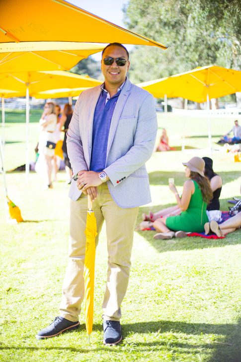 Mens Fashion Veuve Clicquot Polo Classic 2013 Los Angeles - Chris Dyer wearing Ted Baker Check Collar Polo & INC Gingham Blazer Jacket, Levi's khaki 508 514, Dr Martens Navy Paisley Embossed Suede, Tom Ford Su