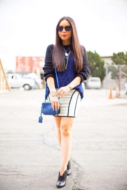 An Dyer wearing Heartloom Kendra Sweater, Bardot Skirt, Sole Society Joey, Rovi Moss Blue Mini Square Crossbody Chilli beans sunglasses