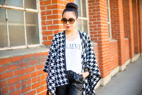 An Dyer wearing Maybelline Color Elixir, Tom Ford Carrie Sunglasses, CJ by Cookie Johnson Believe Tee, Houndstooth Poncho