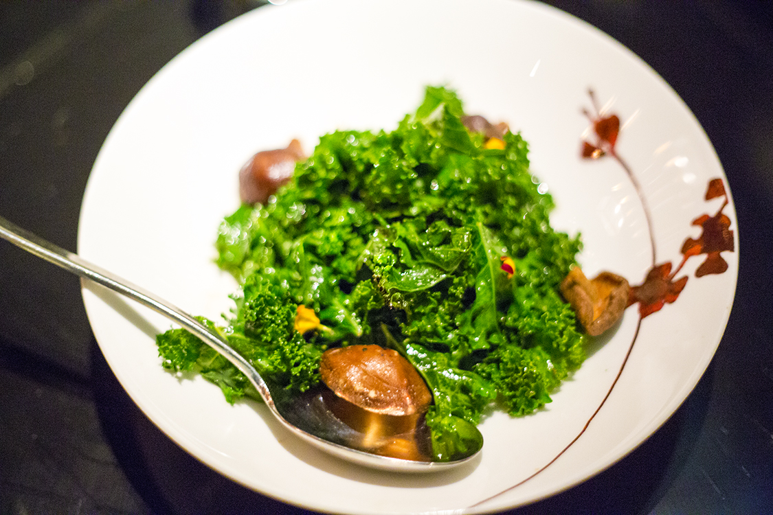 Fresh Kale with Crispy Shiitake Mushroom Salad