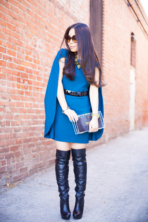 Marciano Karla Cape Dress with Over The Knee Boots