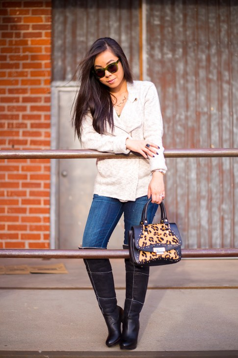 An Dyer wearing Michael Stars Angora Moto Jacket, UGG Dreaux Over The Knee Shearling Boots, Koret Tudor Demi Leopard Satchel, Citizens Jeans, chilli beans green sunglasses