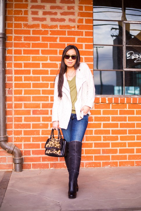 Michael Stars Angora Moto Jacket, UGG Dreaux Over The Knee Shearling Boots, Koret Tudor Demi Leopard Satchel, Citizens Jeans