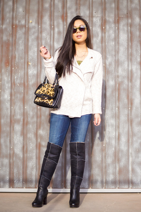 Michael Stars Angora Moto Jacket, UGG Dreaux Over The Knee Shearling Boots, Koret Tudor Demi Leopard Satchel, Citizens of Humanities Skinny Jeans