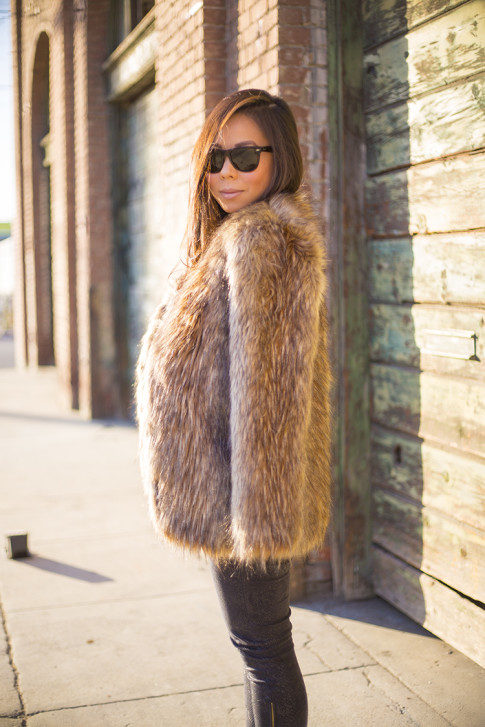 Faux Fur Fall Winter Outfit Idea