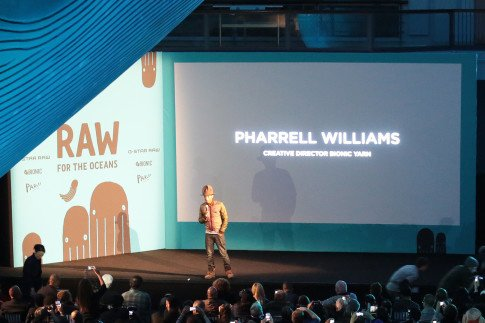 Pharrell Williams at the RAW For The Oceans Annoucement with GStar NYFW