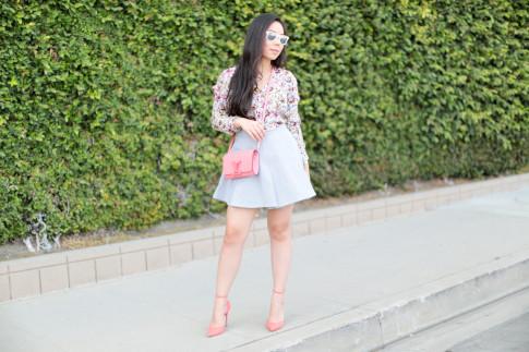 Street Style wearing Louis Vuitton Louise Corail, Schutz Floralite Heel