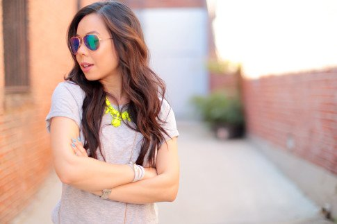 An Dyer wearing Foster Grant Blue Mirrored Aviator Sunglasses, Neon Yellow Necklace and The One by Cotton On