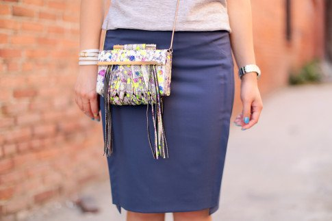 An Dyer wearing Katherine Kwei Fringe Crossbody, Chaiken Skirt, Hermes Hapi