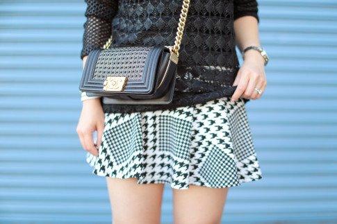 Wearing Chanel Boy Bag 14P Braided Small Black GHW