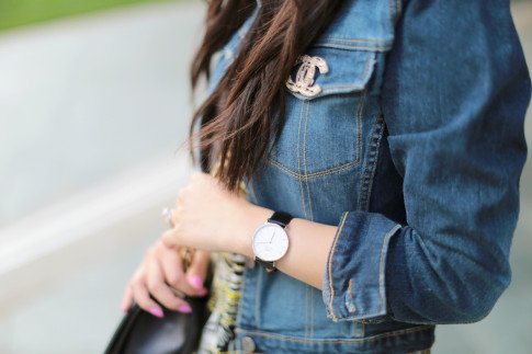 chanel boy bag and brooch street style
