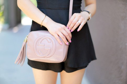 Blogger wearing Gucci Soho Disco Bag Nude Patent Leather