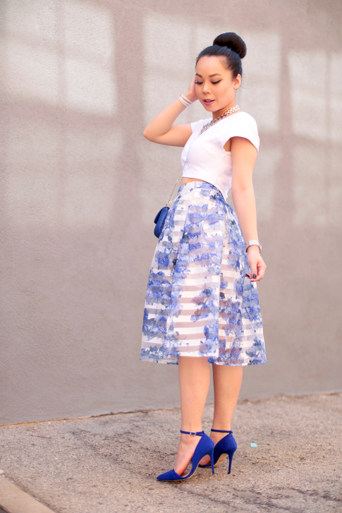 Blue Floral Stripe Sheer Midi Skirt