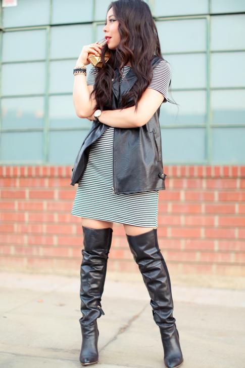 OOTD Splended Belmont Stripe Dress OTK Boots Mink Pink Biker Vest