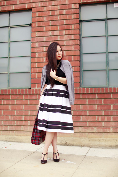 Bold Striped Midi Skirt Turtleneck Sweater Red Plaid Tote TStrap Mary Jane