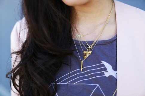 layering dainty gold necklaces