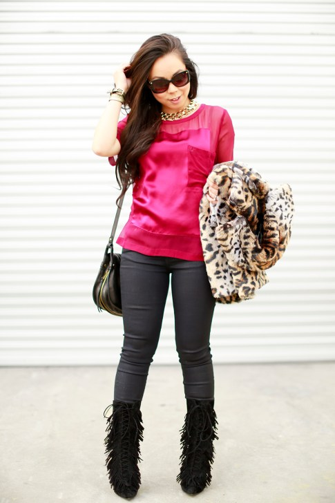Fall Winter Style Fringe Boots Faux Fur Leopard Coat