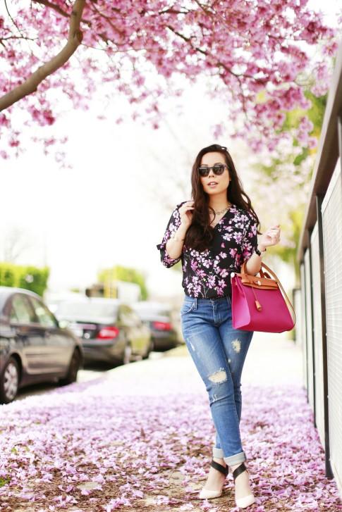 Pink Trees Street Style Hermes Herbag