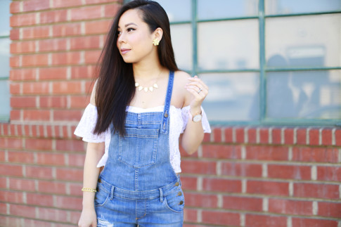 Guess Off the Shoulder with Overalls Louis Vuitton Alma BB Magnolia