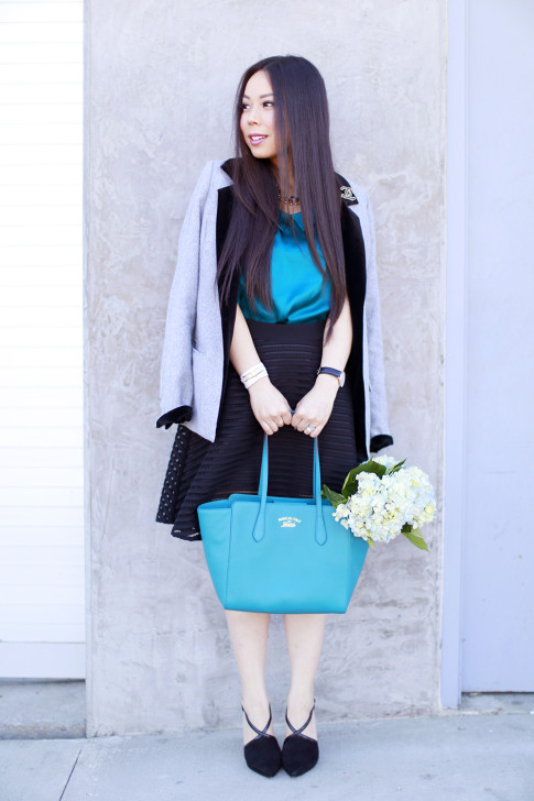Outfit with Gucci Swing Tote Medium Turquiose