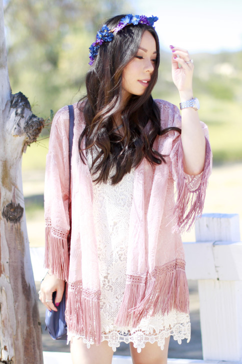 An Dyer wearing Coachella LSpace Crochet Dress with Pink Fringe Kimono Purple Blue Flower Crown