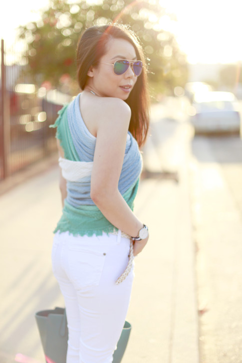 An Dyer back wearing Express Ombre Scarf tied as a top shirt with Foster Grant blue green Mirrored Aviators