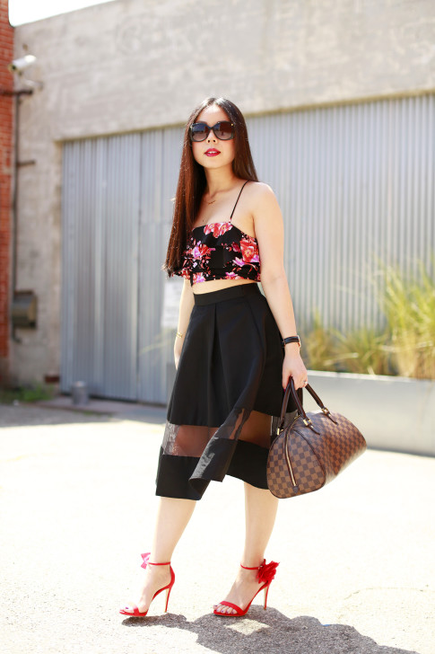 An Dyer revolve floral crop top, express high waist midi skirt sheer panel, louis vuitton ribera mm, justfab Kyla