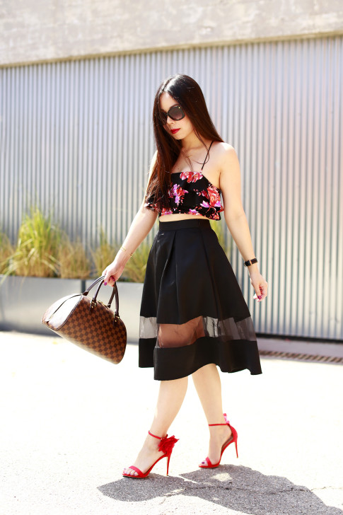 An Dyer revolve floral crop top, express high waist midi skirt sheer panel, louis vuitton ribera mm, justfab red rose sandals
