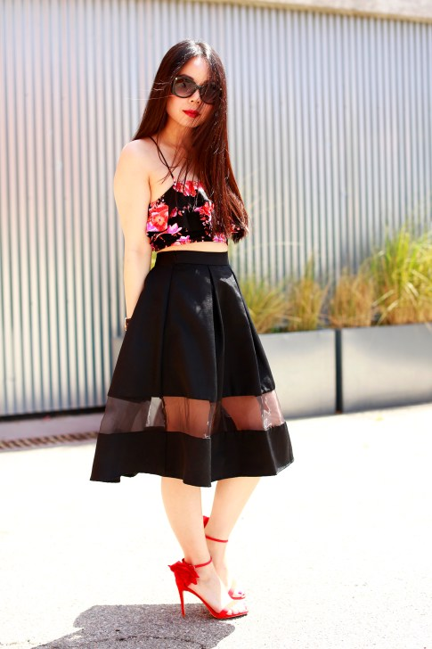 An Dyer revolve floral crop top, express high waist midi skirt sheer panel,justfab red rose sandals