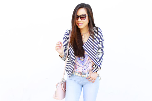 An Dyer wearing BLVGRI Sunglasses, JustFab Striped Jacket