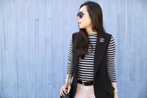 An Dyer wearing Chanel Brooch