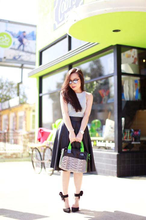 An Dyer wearing Dune Top Zara Leather Midi Skirt Hayden Harnett Sandrine Black and Green