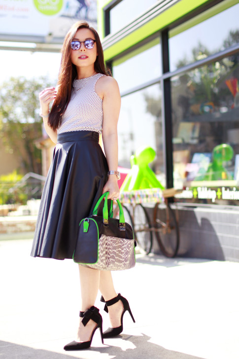 An Dyer wearing Dune Top Zara Leather Midi Skirt Hayden Harnett Sandrine Black and Green with Quipid Bow Pumps and westward leaning sunglasses