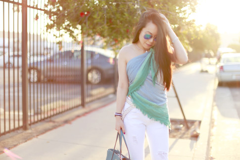 An Dyer wearing Express Ombre Scarf tied as a top shirt with James White Boyfriend Jeans