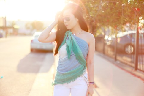 An Dyer wearing Express Ombre Scarf tied as a top shirt with Woven Belt