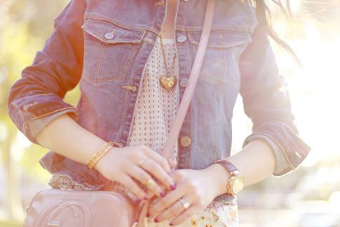 An Dyer wearing Maison de Morgana Studded Heart Necklace