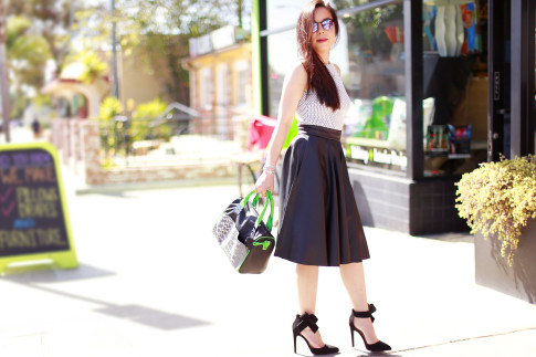 An Dyer wearing Zara Leather Midi Skirt with Quipid Bow Pumps