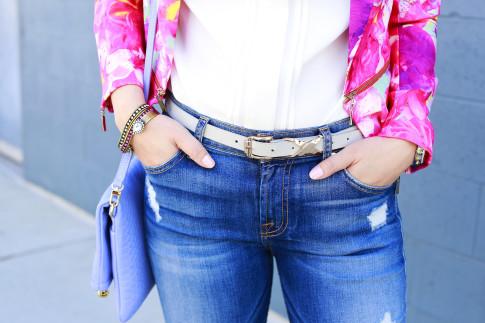 An Dyer wearing 7fam jeans with Loren Hope Cuff Bracelets