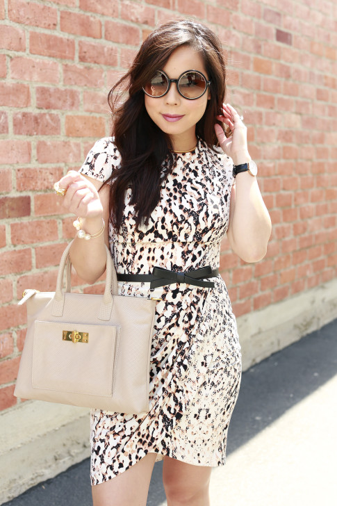 An Dyer wearing Bebe Spring Dress, Tom Ford Carrie Sunglasses, Kate Spade Bow Belt and Onna Ehrlich Bag
