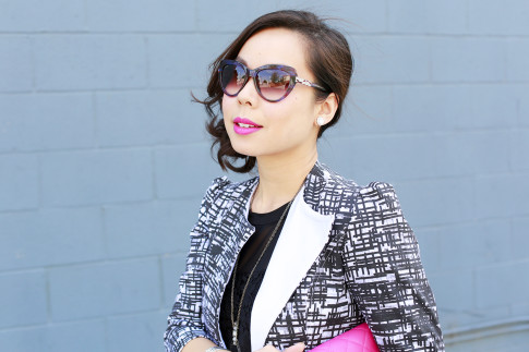 An Dyer wearing Bulgari Sunglasses with Bling JEwelry Clip On Earrings
