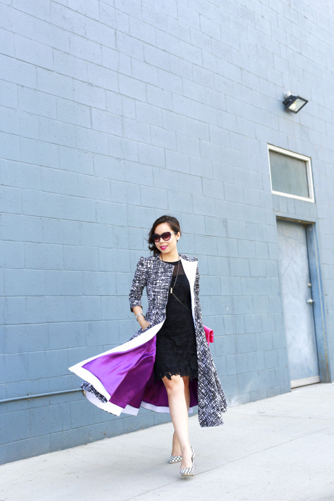 An Dyer wearing Bulgari Sunglasses with Doku AME'YO MARBLE LONG COAT and JustFab Windowpane Pumps
