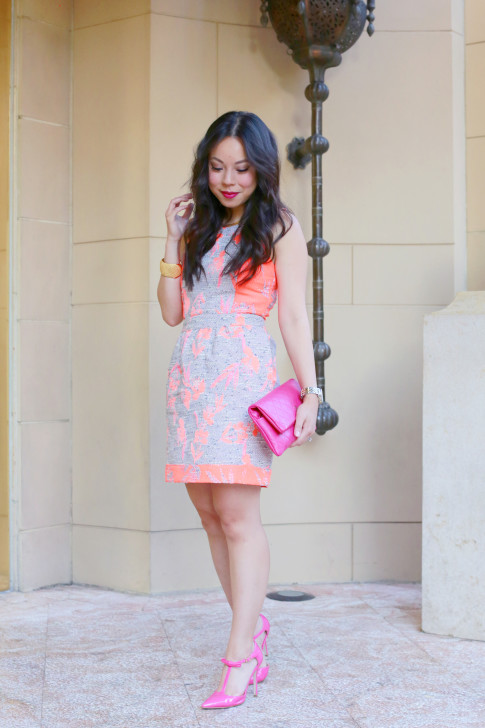 An Dyer wearing Ella Moss Dahlia Dress with Chanel Pink Fuschia Clutch shoedazzle hot pink bow pumps