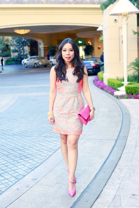 An Dyer wearing Ella Moss Dahlia Dress with Chanel Pink Fuschia Clutch shoedazzle simone hot pink bow pumps