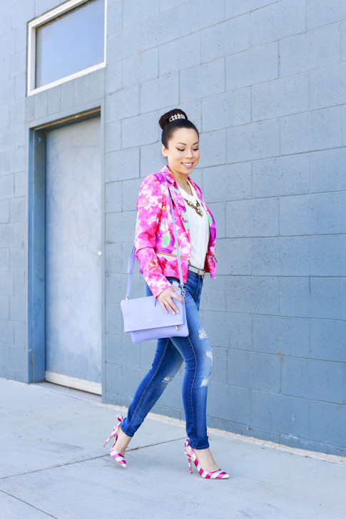 An Dyer wearing Honey & Beau Eternal Blossom Jacket 7fam jeans shoedazzle nena pumps and gigi carly clutch