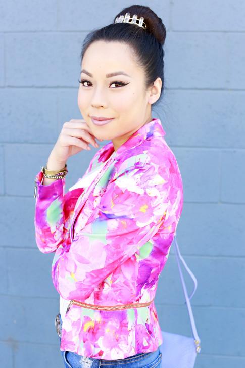 An Dyer wearing Honey Beau Eternal Blossom Jacket, Kitsch Bun Pin