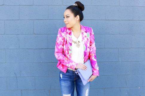 An Dyer wearing Honey & Beau Eternal Blossom Jacket with Juliet and co necklace and gigi New York Carly Clutch Lavender