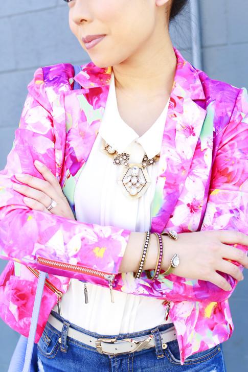 An Dyer wearing Honey & Beau Eternal Blossom Jacket with Loren Hope Bracelets, modcloth blouse and juliet co necklace